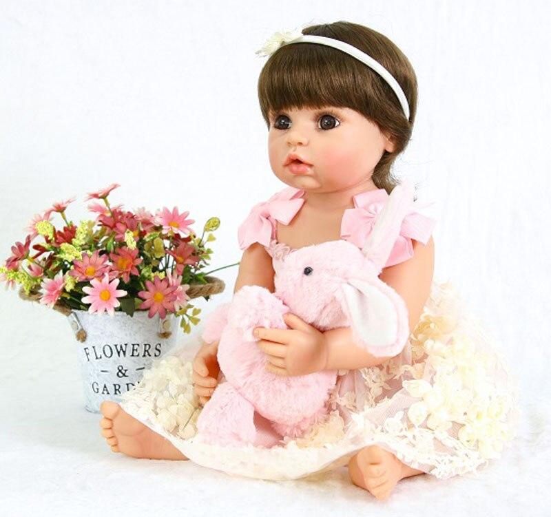 Di modo 22 pollice bebe 55 cm Corpo Pieno di Silicone Reborn Baby Girl Doll Live Bambola Della Principessa Del Bambino del Giocattolo Per Il Capretto regalo di Compleanno Di natale