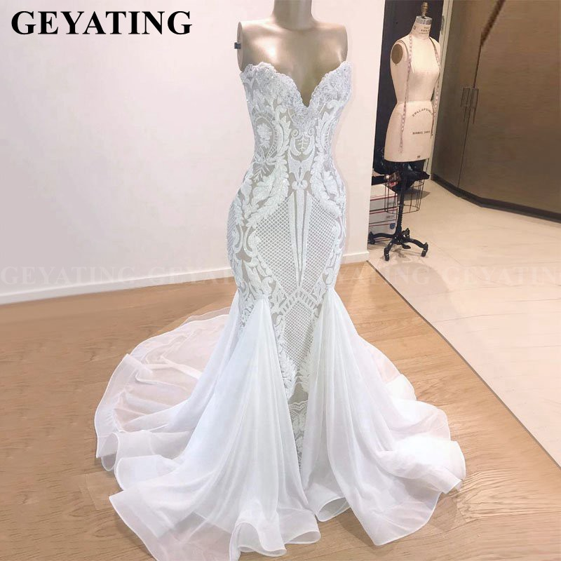 Sparkly Sequined White Mermaid African   Prom     Dress   for Black Girls Ruffles Court Train Elegant Plus Size Graduation Evening Gowns