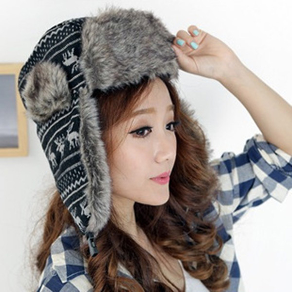 6529de39b7d19 Women Trapper Hat Earflap Cap Fawn Pattern Faux Fur Snow Beanie Hat Cap  Beanies-in Bomber Hats from Apparel Accessories on Aliexpress.com