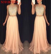 Вечернее платье длинное из шифона с жемчугом и прозрачными бусинами