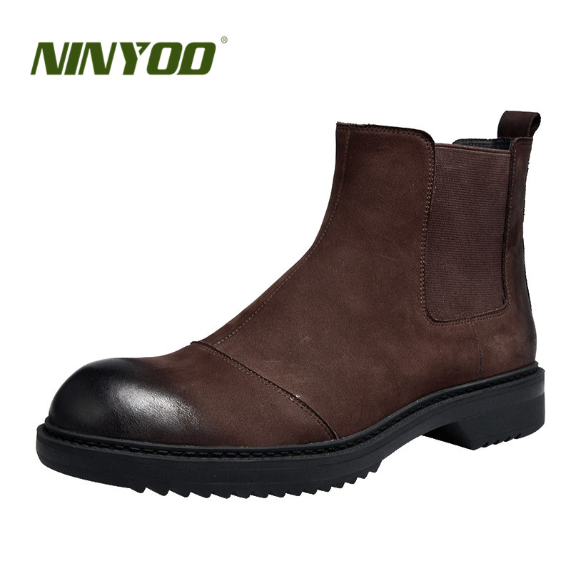 NINYOO New High End Men Boots Genuine Leather Chelsea Boots Fur Wearproof Ankle Winter Boots Motorcycle Martens Boots Work Shoes
