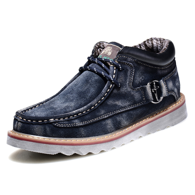 ФОТО Winter Men Boat Shoes Classic Washed Suede Leather Mens Cotton-Padded Shoes With Plush Low Top Lace Up Keep Warm Durable