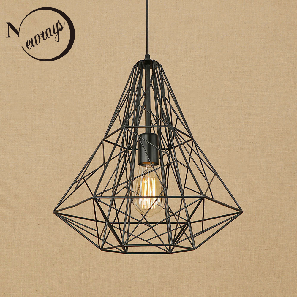 цена на Retro black iron cage pendant lamp Loft pendant lights cord LED vintage E27 for Living room dining room restaurant bedroom