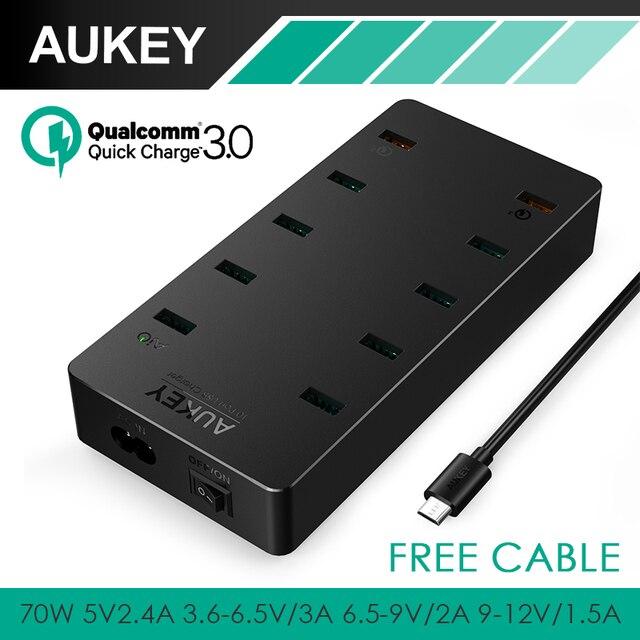 Aukey de Multi carregador USB, 70 W UE/EUA Plug 10 USB-carregador de Parede com Portas aipower & qc 3.0 para iphone 7 plus android com cabo livre