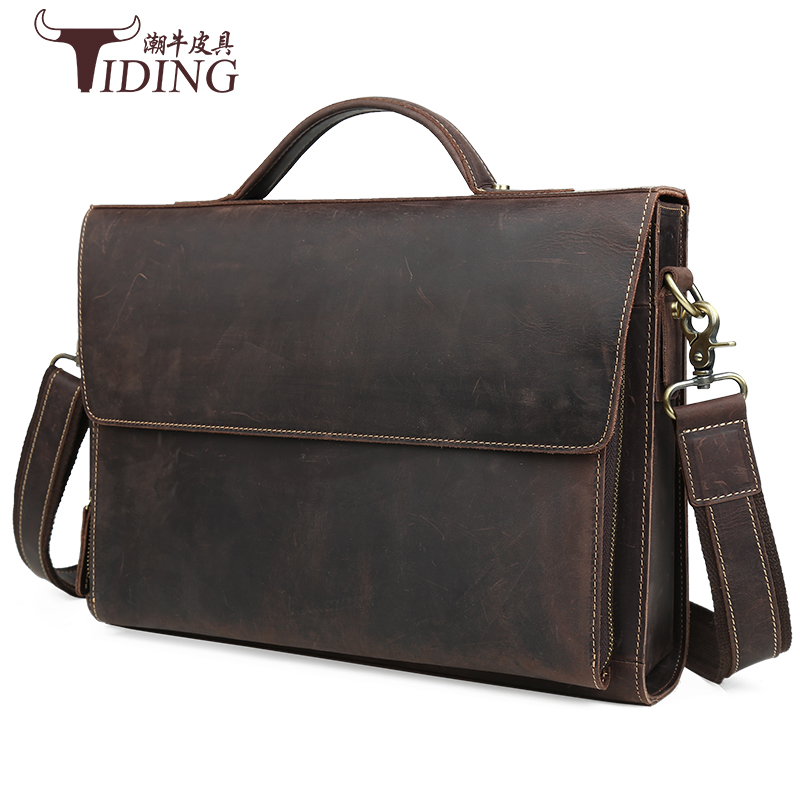 men briefcases handbag genuine leather bag crazy horse laptop vintagee business man dress shoulder messenger file  bags joyir crazy horse leather briefcases men s genuine leather business bags male shoulder bag laptop bag men office bags for men