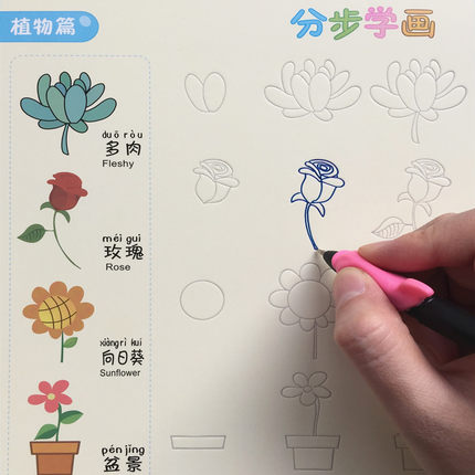 3D Reusable Groove Character /Fruit / Vegetable /plant Super Meng Stick Figure Baby Drawing Book For Kids Children Painting