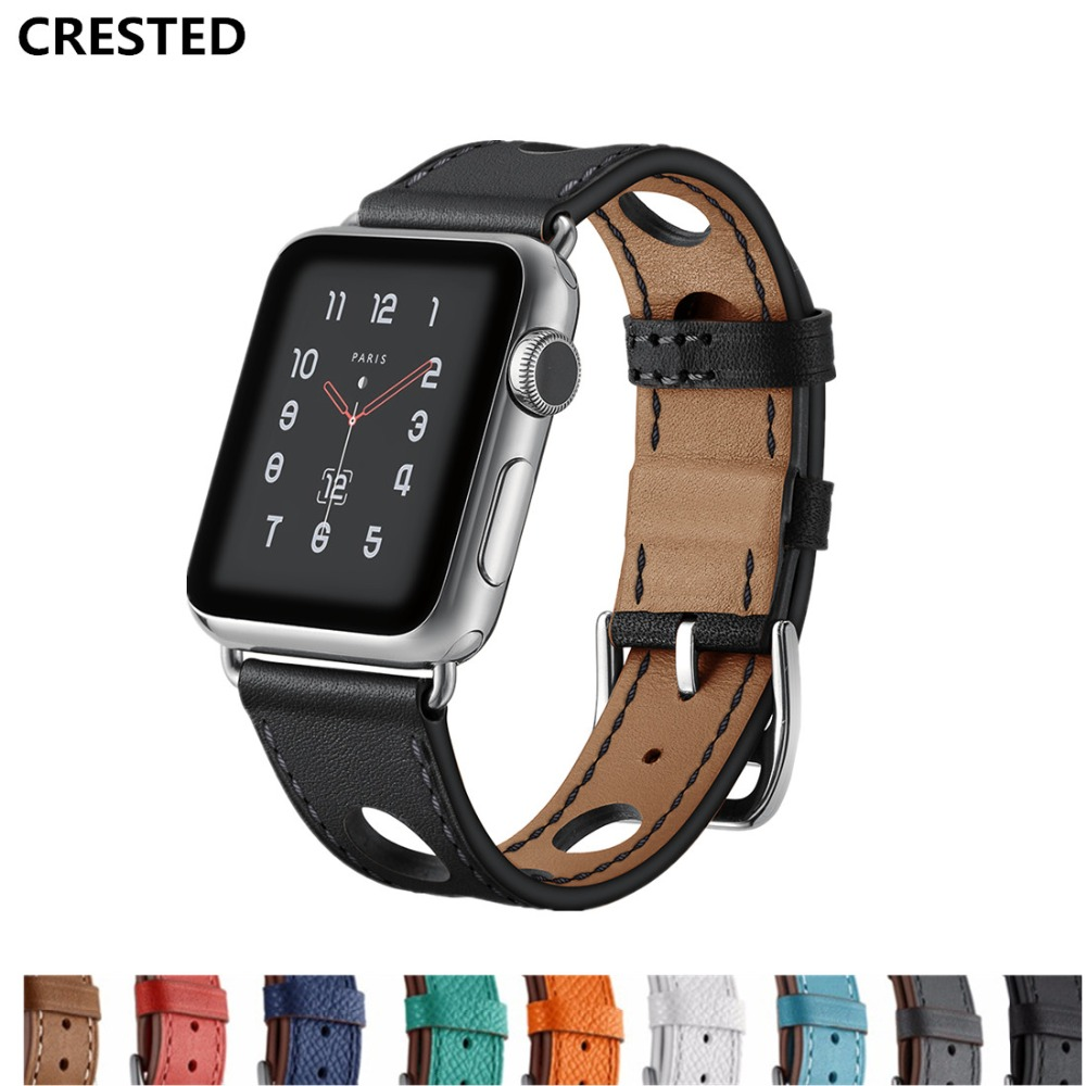 CRESTED Genuine Leather loop For Apple Watch band 42mm 38mm iwatch series 3 2 1 Single Tour wrist bands Bracelet watchband belt crested crazy horse strap for apple watch band 42mm 38mm iwatch series 3 2 1 leather straps wrist bands watchband bracelet belt