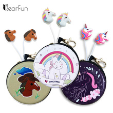 Cute Sport Music Headphones With Mic Funny Unicorn Horse Cartoon Wired Earphones + Metal Storage Box For Samsung iPhone Sony