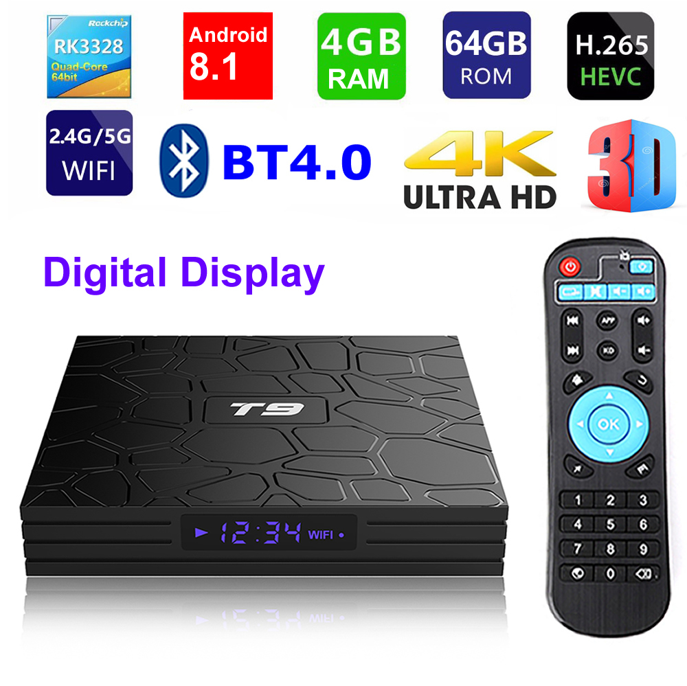 T9 Android 8 1 Smart TV BOX RK3328 Quad core 4GB Ram 64G Rom Digital Display