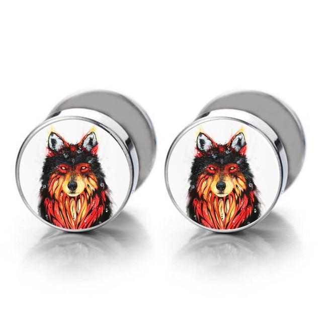 Wolf Fake Ear Plug Cartilage Tragus Earring For Women Men Helix Barbell Piercing Jewelry