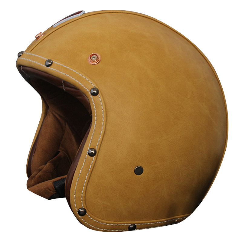 Adult Open Face Leather motorcycle Helmet Harley half face Man and women Helmet sharing Moto scooter jet Motorbike Vespa helmets