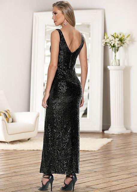 Elegant Maxi Sequin dress with Slit