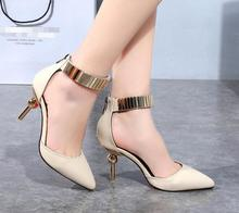 High Heel Shoes Women Strange Style Heel 2016 New Arrivals Metallic Buckle Strap Pointed Toe European Fashion Free Shipping