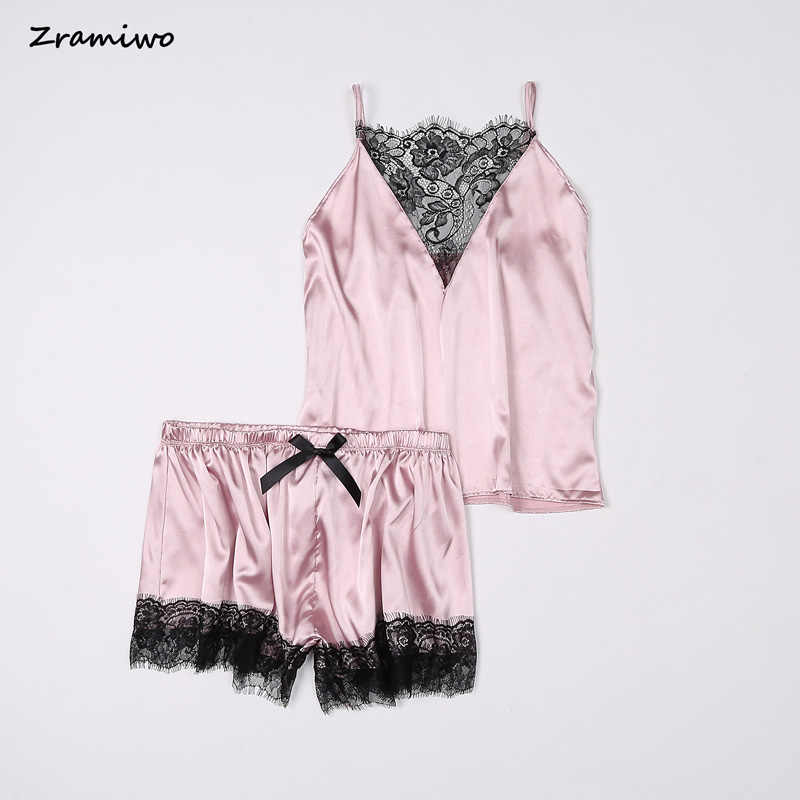 Zramiwo 女性パジャマセットサテンパジャマレースキャミとショーツセットノースリーブスパゲッティストラップナイトウェア