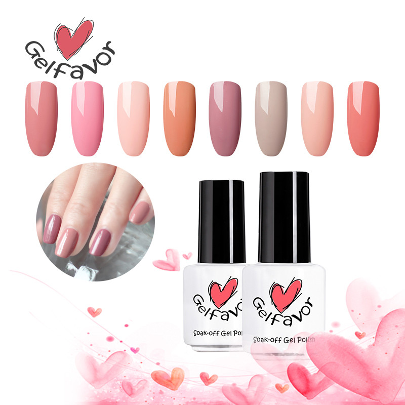 Gelfavor Nude Pure Color Series Gel polaco empapa de la lámpara UV LED Esmalte de uñas