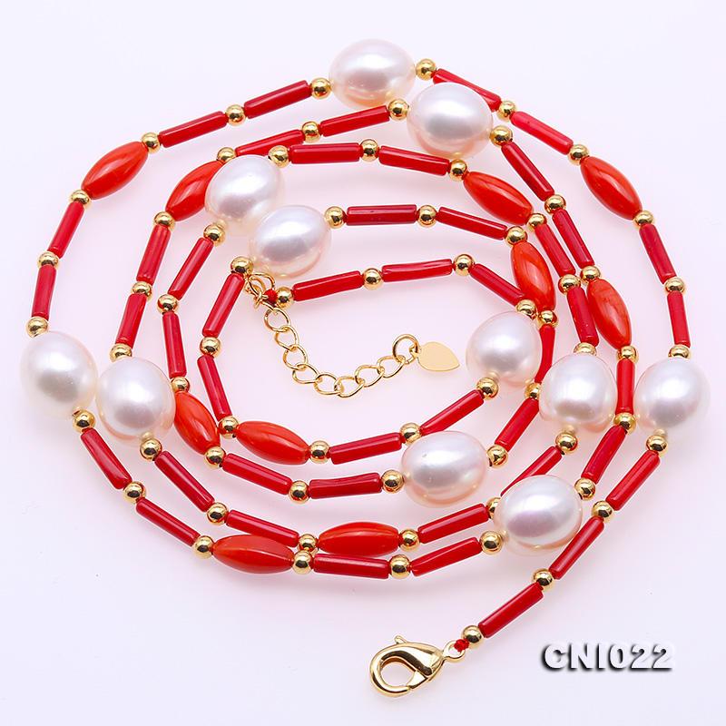 a6f55664bee6 Comprar Única joyería de perlas perfecta 2x9mm rojo Coral blanco collar de  perlas 33 joyería larga hecha a mano encantadora mujer regalo Online Baratos