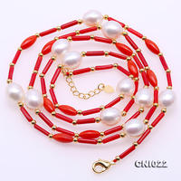 Unique Pearls jewellery Store Perfect 2x9mm Red Coral White Pearl Necklace 33'' Long Jewellery Handmade Charming Women Gift