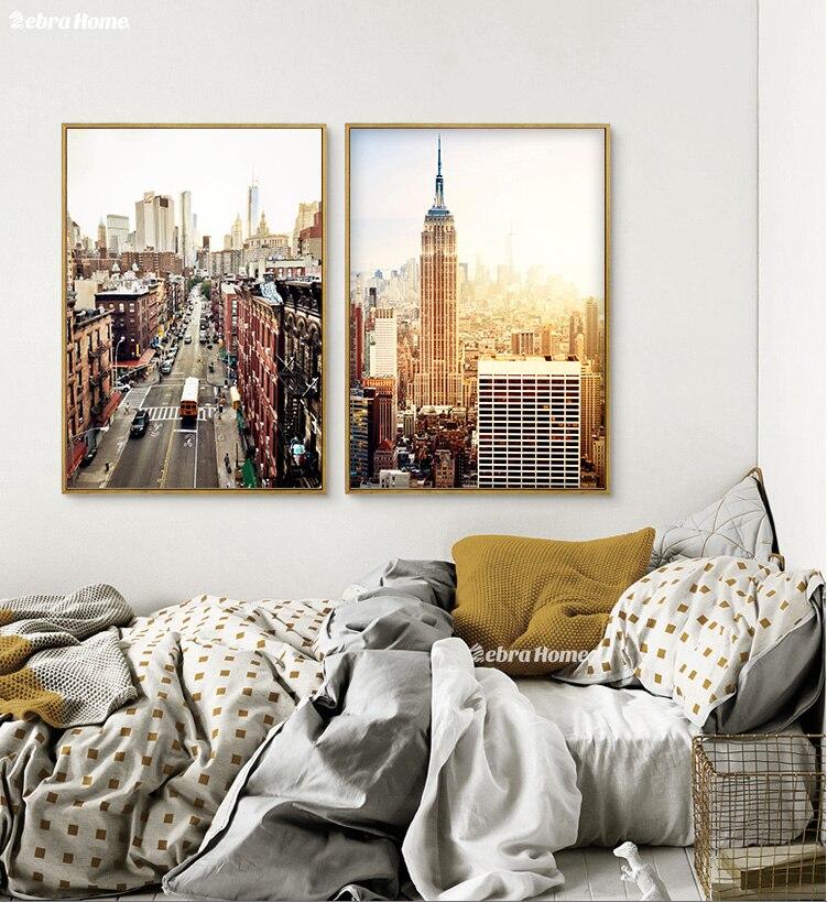 New York sulu boya çap kətan divar rəssamlığı Abstrakt şəhər - Ev dekoru - Fotoqrafiya 3