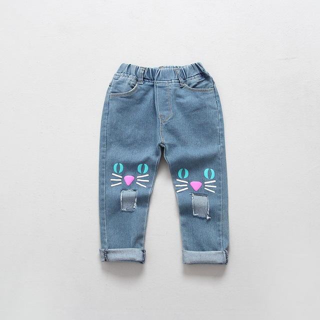 Spring autumn summer 2016 stereo cat jeans for girls kids ripped jeans fashion jeans for toddler girl denim jeans with big hole