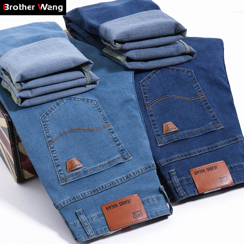 Brand Men's Slim Jeans 2019 Summer New Thin Stretch Business Casual Trousers Fashion Denim Pants Male Sky Blue