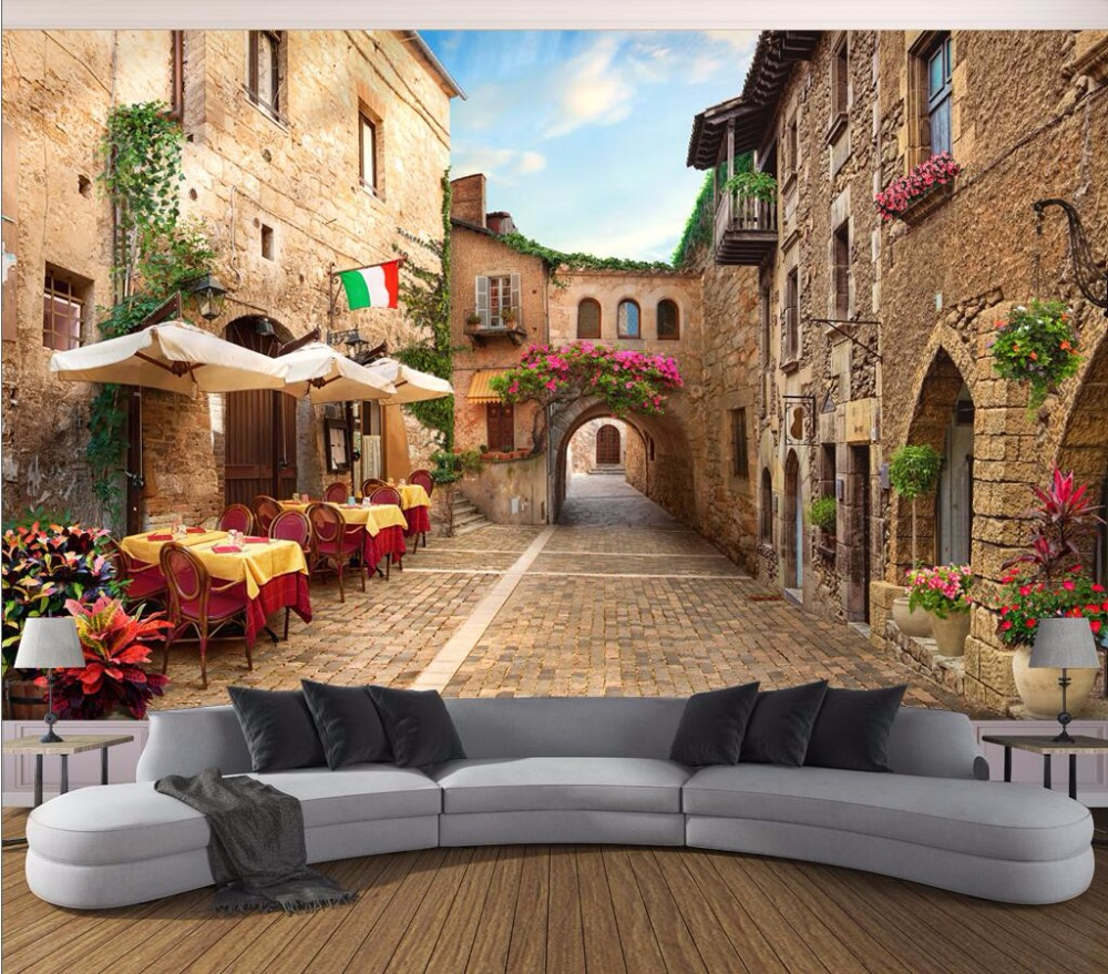 Custom Mural Photo 3d Wallpaper Alley Street View Picture