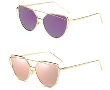 cab303098 7 ألوان سائق نظارات القط العين العلامة التجارية مصمم روز الذهب مرآة النظارات  الشمسية النساء معدنية عاكسة عدسات مسطحة نظارات شمسي.