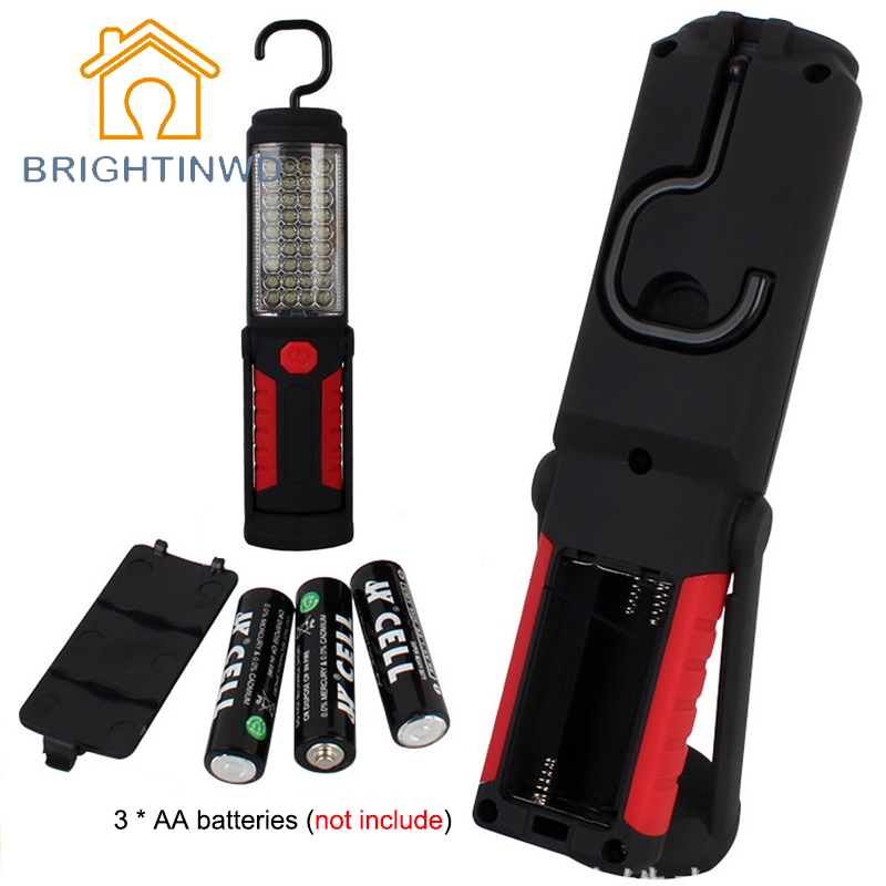 BRIGHTINWD Super Bright Portable Flashlight Torch 36+5 LED Flexible Hand Torch Work Light Powerful Magnetic Inspection Lamp powerful portable 3000 lumens cob led flashlight magnetic rechargeable work light 360 degree stand hanging torch lamp for work