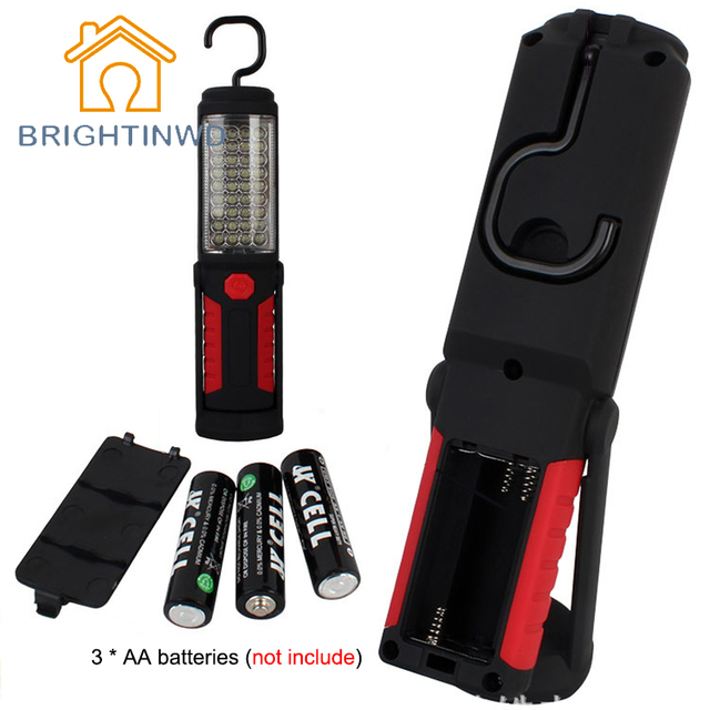 Super Bright Portable Flashlight Torch Work Light 36+5 LED Flexible Hand Torch Powerful Magnetic Inspection Lamp BRIGHTINWD