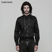 PUNK RAVE Men's Uniform Punk Handsome Long Sleeve Shirt Zipper Decoration Fashion Party Club Visual Kei Casual Men Shirts