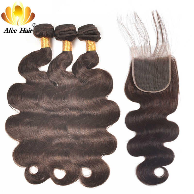 Ali Afee Hair #2 Brazilian Colored Bundles With Closure Non Remy Hair Weave  Body Wave 100% Human Hair Extension