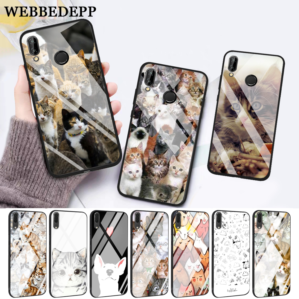 WEBBEDEPP Cat Cute Mouse Pig Cats Glass Case for Huawei P10 lite P20 Pro P30 P Smart honor 7A 8X 9 10 Y6 Mate 20