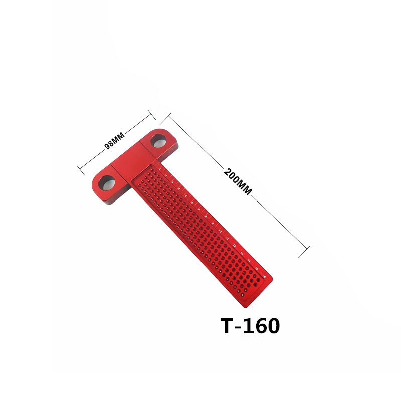 Деревообрабатывающий писец 160 мм Т-образная линейка Дырокол Scribing Gauge алюминиевый скрещенный стопой деревообрабатывающий скрещенный инструмент измерительный инструмент - Цвет: T-160