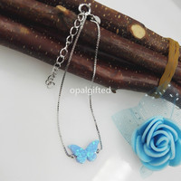 1pc Lot Free Shipping 8 6 14mm Light Blue OP06 Synthetic Opal Butterfly Bracelet With 925