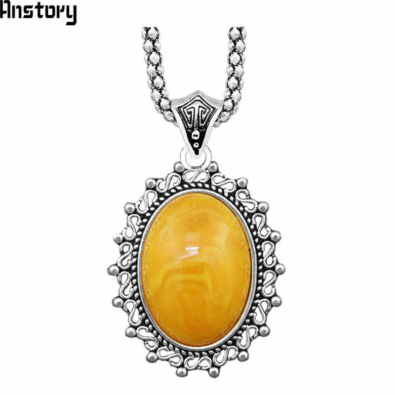 Flower Pendant Resin Necklace Vintage Choker Necklace For Women Antique Silver Plated Fashion Jewelry
