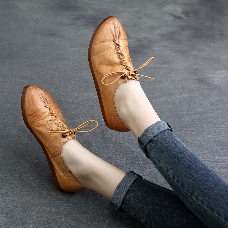 Tyawkiho Genuine Leather Women Flats 2018 Spring Lace Up Casual Leather Shoes Soft Bottom Retro Handmade Women Leather Flat Sale tyawkiho genuine leather women sandals low heel white casual leather summer shoes 2018 handmade women leather sandal soft bottom