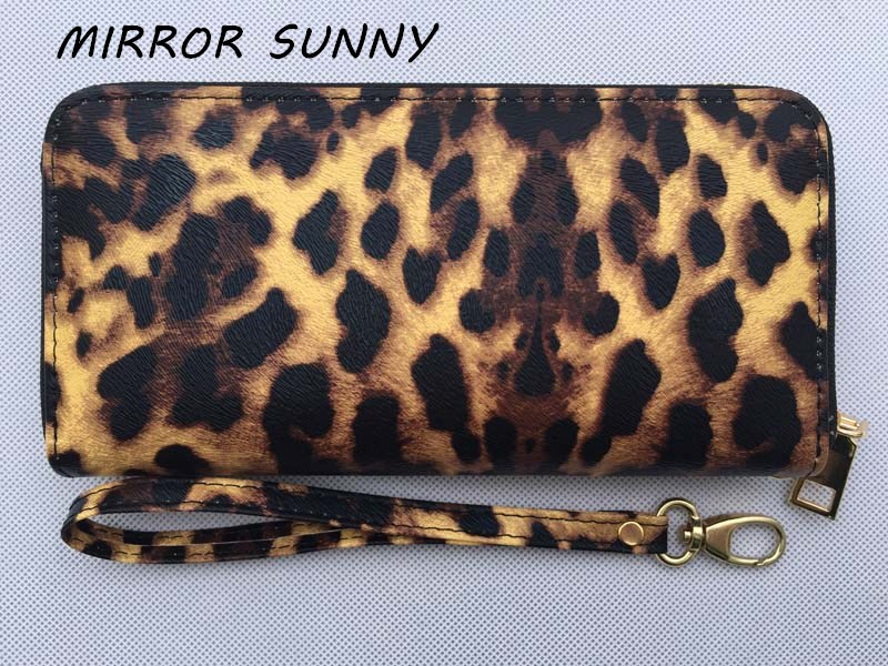 MIRROR SUNNY New PU women long wallet leopard zipper wallet high quality wristlet wallet lady cellphone purse large capacity
