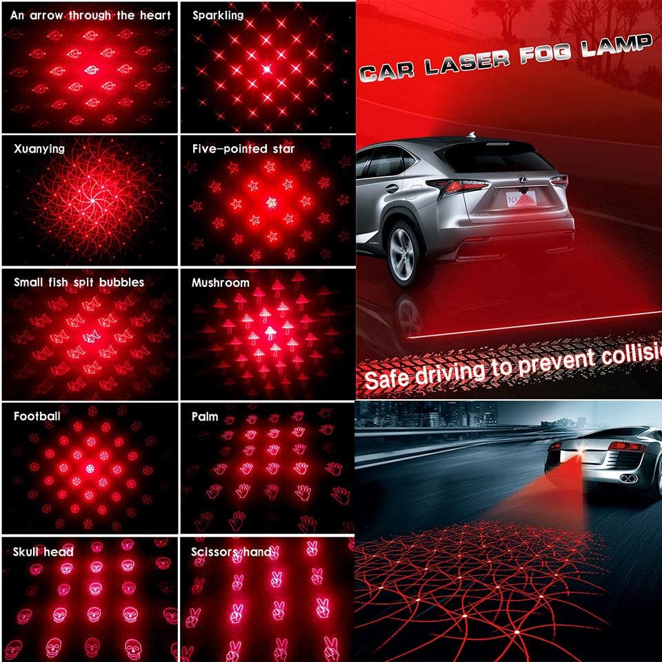 LOEN 1PC 11 muster Universal Auto Laser Nebel Licht Schwanz Hinten Auto Brems Parkplatz Warnung Lampe für toyota 0 bmw honda cruze