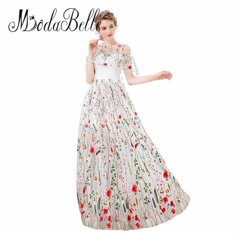 8c491dde4cf modabelle Tulle White Long Floral Prom Dress Off Shoulder Floor Length  Vestidos De Graduacion Modest Flower