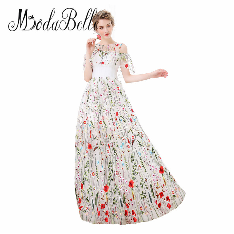 modabelle Tulle White Long Floral Prom Dress Off Shoulder Floor Length Vestidos De Graduacion Modest Flower Evening Dress 2018