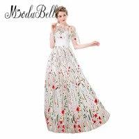 modabelle Tulle White Long Floral Prom Dress Off Shoulder Floor Length Vestidos De Graduacion Modest Flower Evening Dress 2018