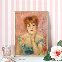 Rosa Ritratto Dipinti per la Casa Decorazione Della Parete di Arte Auguste Renoir Riproduzione Tela Jeanne Samary in un Basso Vestito Dal Collo