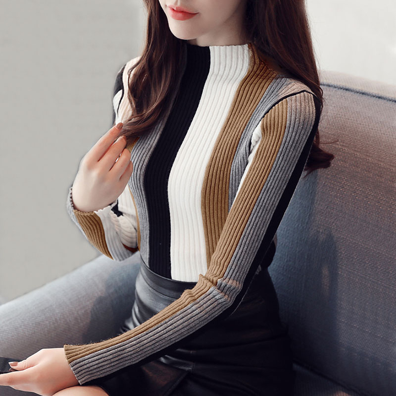 Drop Ship Winter Turtleneck Women Sweaters Female Fashion Vertical Stripes Ladies Pullover Knitted Christmas Striped Slim Tops