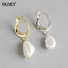 OLOEY Baroque Freshwater Pearl Earrings for Women 100% Genuine 925 Sterling Silver Korean Personalized Brinco Jewelry YME429