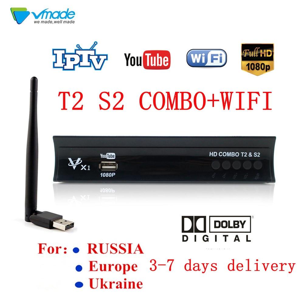 Récepteur satellite numérique Full hd dvb t2 s2 boîtier de télévision combiné tuner de télévision terrestre h.264 prend en charge Dolby, YOUTUBE, CCCAM, IPTV avec WIFI