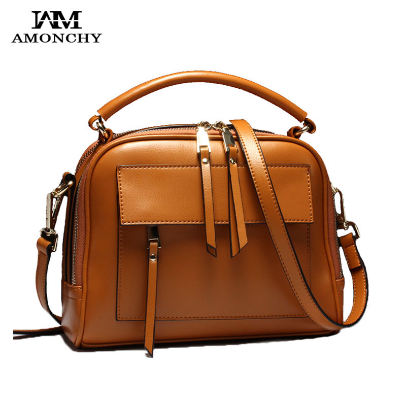 AMONCHY New Arrival Handbags Women Genuine Leather Shoulder Bags Fashion Cowhide Handle Bag Double Zipper Totes Female Briefcase new arrival handmade famous picture pattern women genuine leather handbags female shoulder bags woman totes