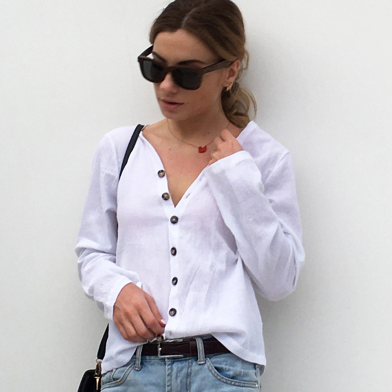Blouse Shirt Women Casual V-Neck Feminine Shirt Button Up Long Sleeve Womens Tops and Blouses Women Shirts Ladies Top Female