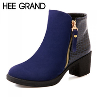 HEE GRAND Women Sexy Ankle Boots 2017 New Autumn Solid PU Pumps Shoes Fringe Square Heels