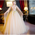 100%real champagne court ball gown with cloak medieval dress Renaissance Gown princess costume Victorian dress