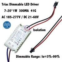 2 шт. изоляции w-20w ac185-277v triac затемнения светодиодный драйвер 7-20x1w 300ma dc21-68v постоянного тока LED Мощность Бесплатная доставка