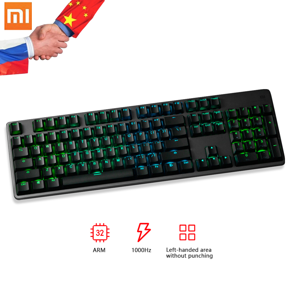 цены Original Xiaomi Mi Gaming Keyboard 104 Keys RGB LED Backlight Aluminum Alloy Cover 32 bit ARM Fast Speed USB Wired Mi Keyboard